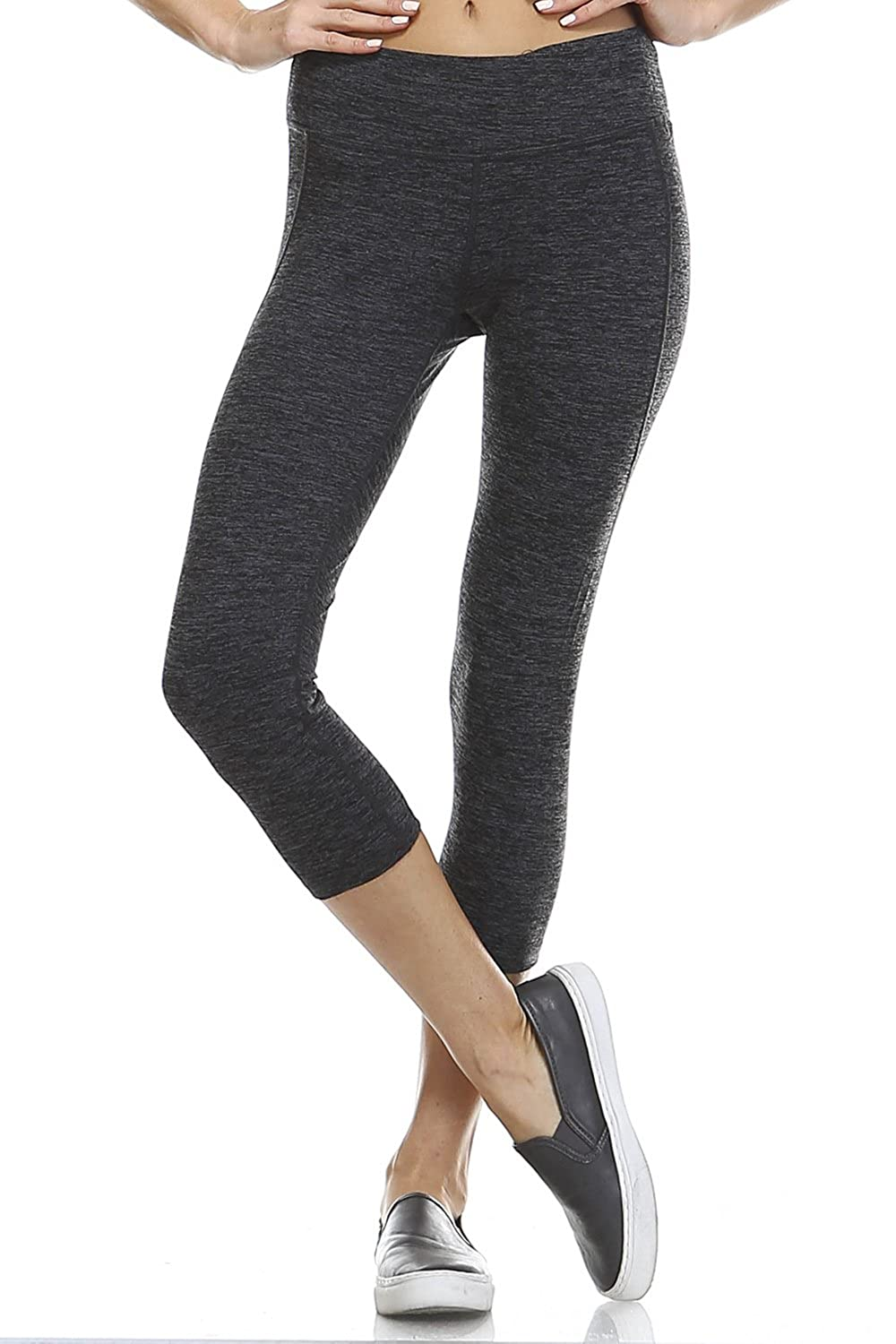 Mono B Womens Slim Fit Basic Capri Leggings