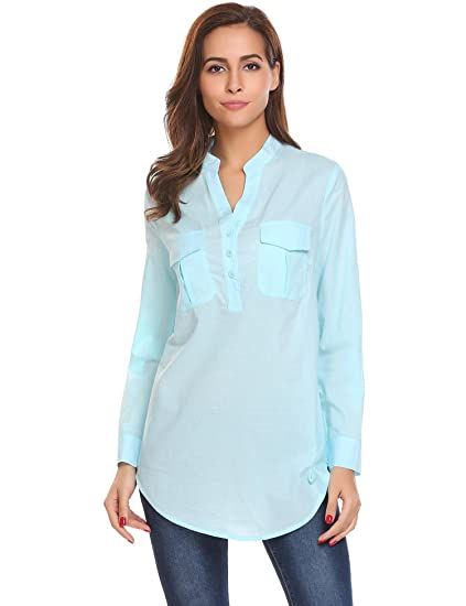 0e31b0364b7 Bifast Women Henley V Neck Cuffed Sleeve Tunic Blouse Boyfriend Long Shirt  with Front Pocket S-XXL at Amazon Women s Clothing store