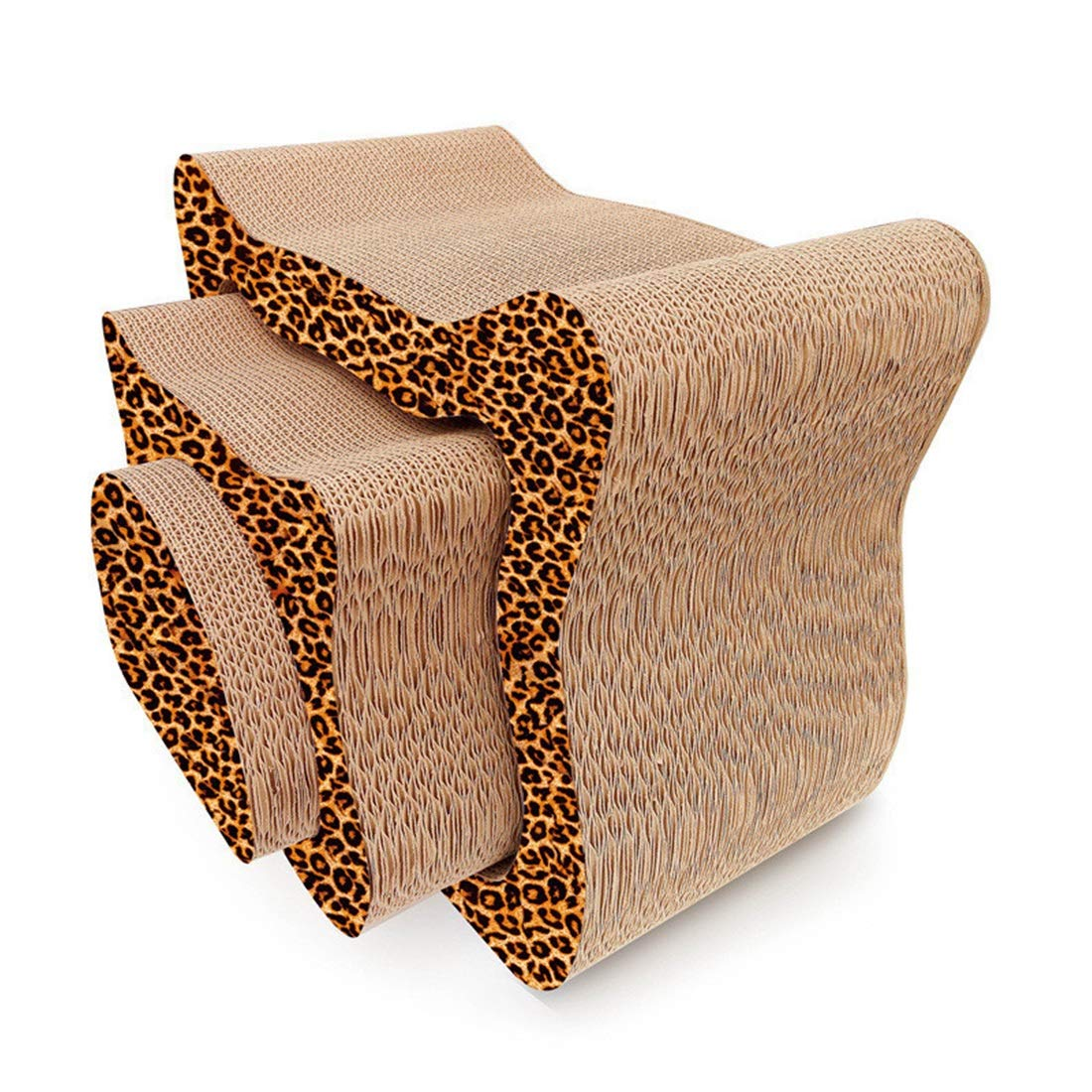 Leopard style 48X25.5X40.5cm Leopard style 48X25.5X40.5cm Hyue High-Density Corrugated Paper Cat Scratch Board Three-Piece Set Cat Toy Claw Board Save Your Furniture (color   Leopard Style, Size   48X25.5X40.5cm)