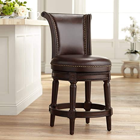 Terrific Addison 24 1 2 Espresso Leather Swivel Counter Stool 55 Downing Street Ncnpc Chair Design For Home Ncnpcorg