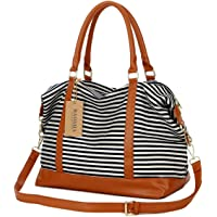 BAOSHA HB-28 Ladies Women Canvas Travel Weekender Overnight Carry-on Shoulder Duffel Tote Bag With PU Leather Strap (Black)