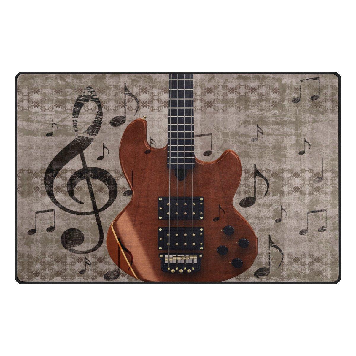 WOZO Vintage Music Guitar Area Rug Rugs Non-Slip Floor Mat Doormats Living Room Bedroom 60 x 39 inches