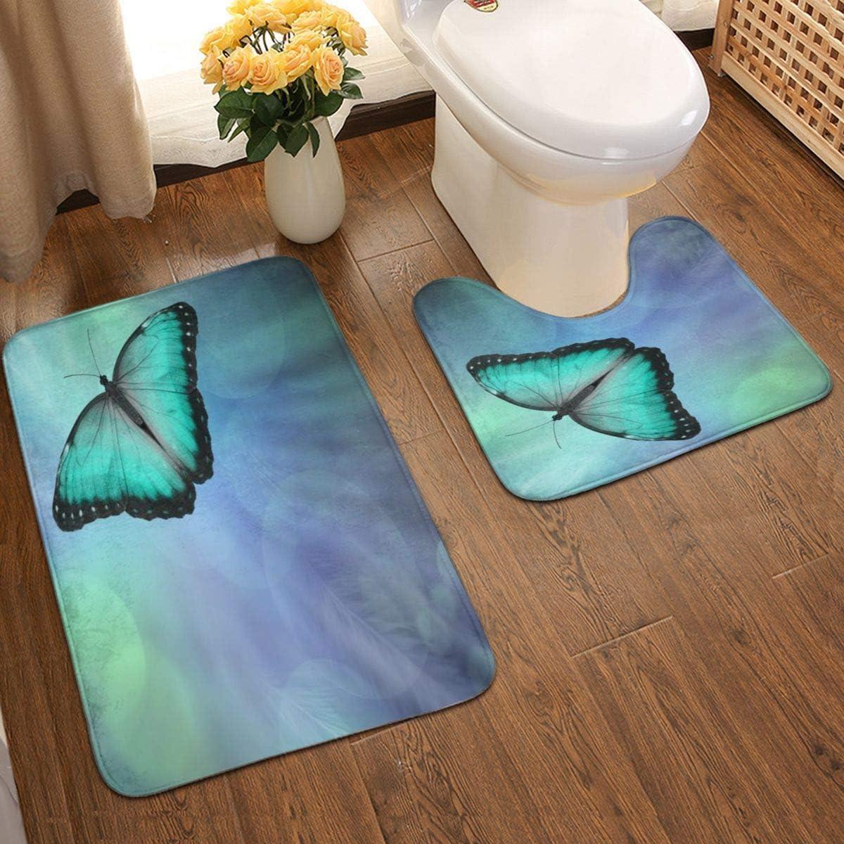 Amazon Com Lone Jade Green Coloured Butterfly Bathroom Antiskid Pad 2 Pieces Bathroom Rugs Set Door Floors Soft Bath Mats Carpet For Tub Shower Customized Home Kitchen