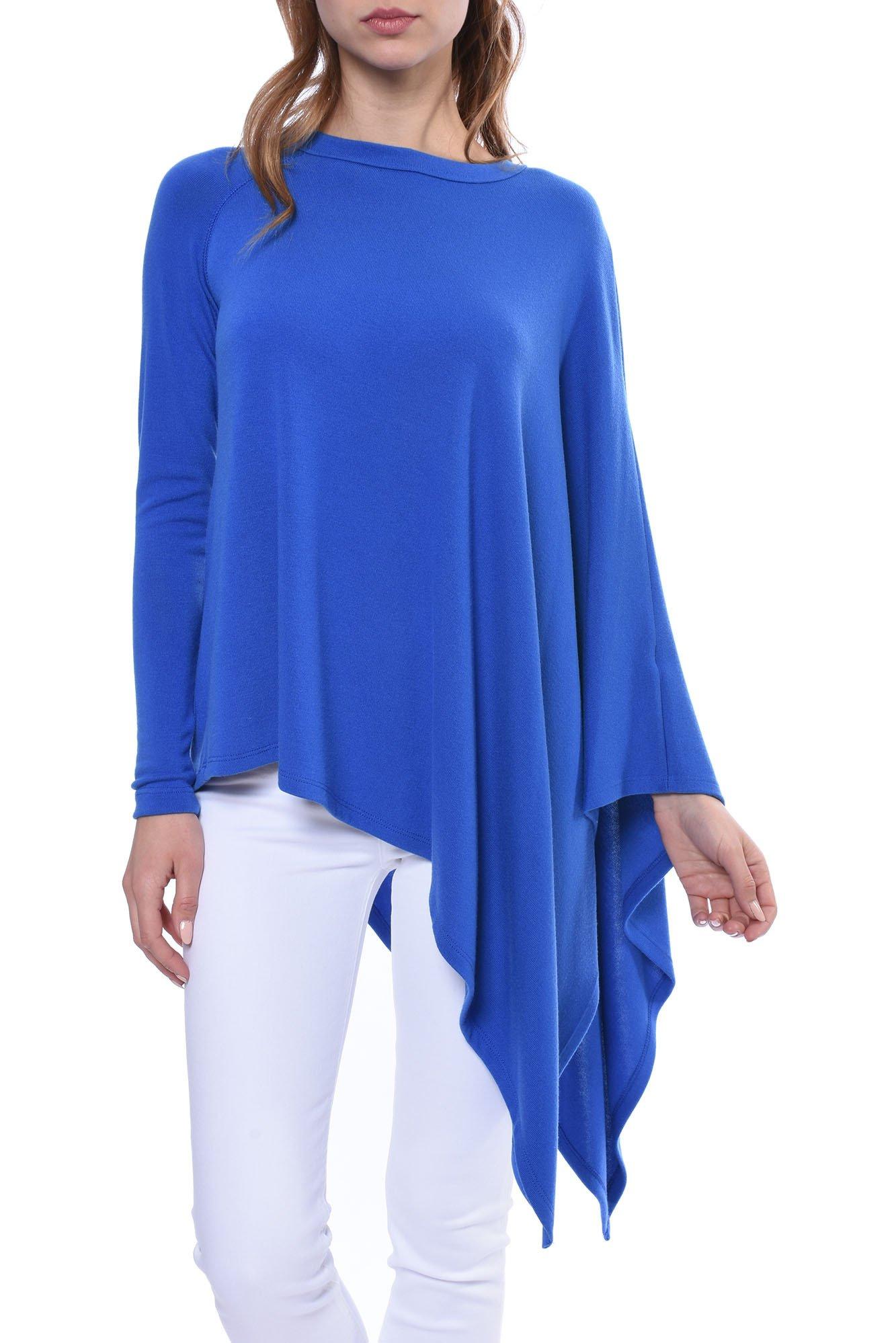 Asymmetric Cape Top (Style 3F43011, Royal Blue) by Fifteen Twenty