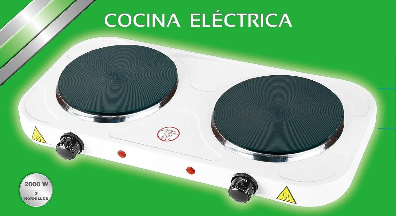COCINA ELECTRICA DOBLE HORNILLO 2000W 2 FUEGOS PLACA ELECTRICO CAMPING GARANTIA: Amazon.es
