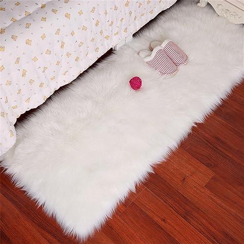 White Faux Fur Sheepskin Area Rug Supersoft Fluffy Rectangle Sheepskin Rug Shaggy Rug Floor Mat Carpet Decoration,5×7 Feet