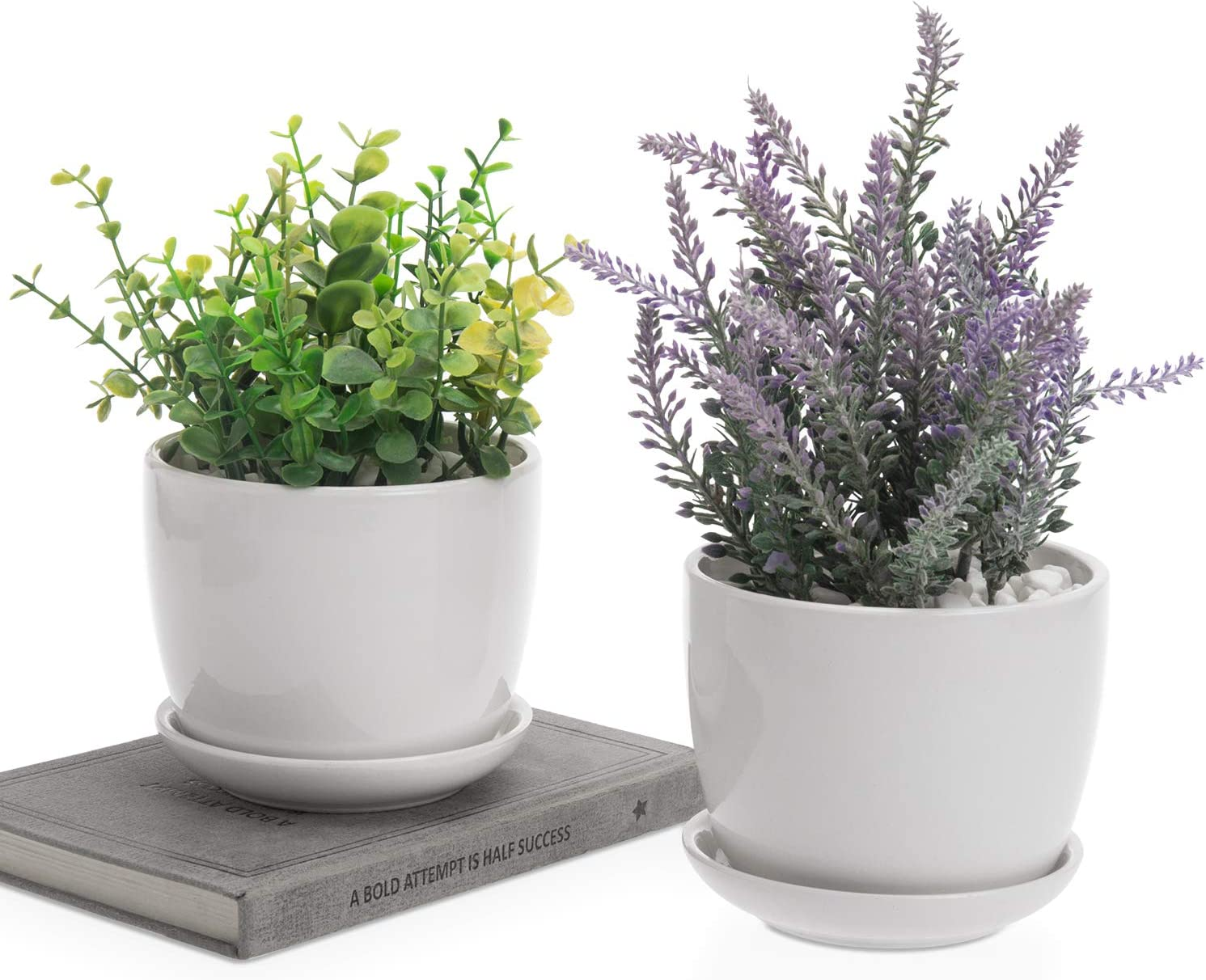 MyGift 4 Inch Ceramic Succulent Planter Flower Pots with Saucer, Set of 2, Off-White