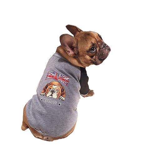 Pineocus - Abrigo de perro bulldog de dos patas con imagen en la parte trasera