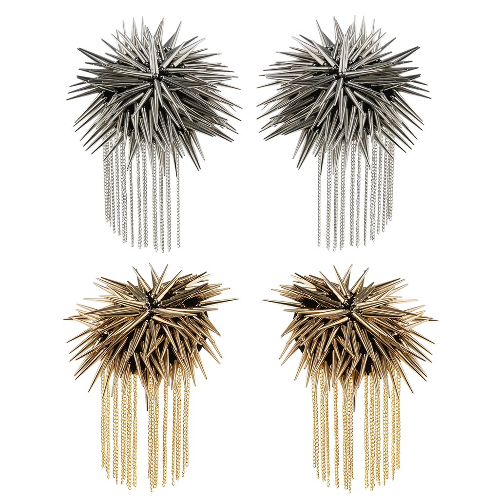 Baosity 1 Pair Metal Cloth Silver Gold Chain Tassel Brooch Epaulet Shoulder Board Mark Punk - Silver by Baosity (Image #3)