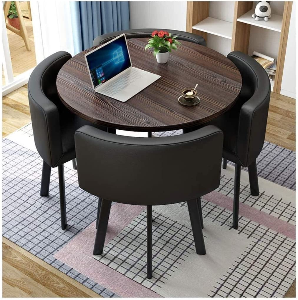 QLJJSD Lounges Balcony Western Restaurant Table and Chair Combination Negotiation Table Sales Office Shops Meetings Small Round Tables Office Conference Tables Leisure Tables and Chairs Hotel