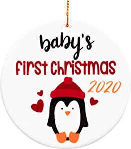 Heart's Sign Babys First Christmas Ornament 2020 | 2 Designs in 1 Porcelain Christmas Tree Ornament | My First Christmas Ceramic Ornaments for a Newborn