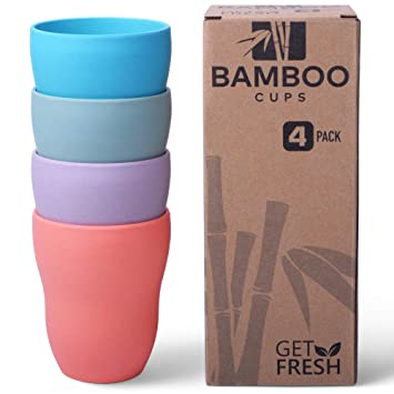 Amazon De Get Fresh Bambus Tassen 4er Set Bambus Trinkbecher