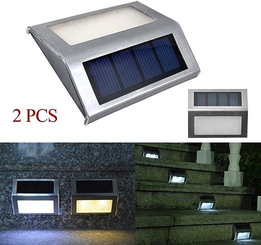 LED lámpara solar - bangweier Super Bright Solar LED lámpara de escalera/pasos luces resistente al agua Sensor de luz Jardín Patio Camino de pared iluminación de seguridad exterior serie: Amazon.es: Jardín