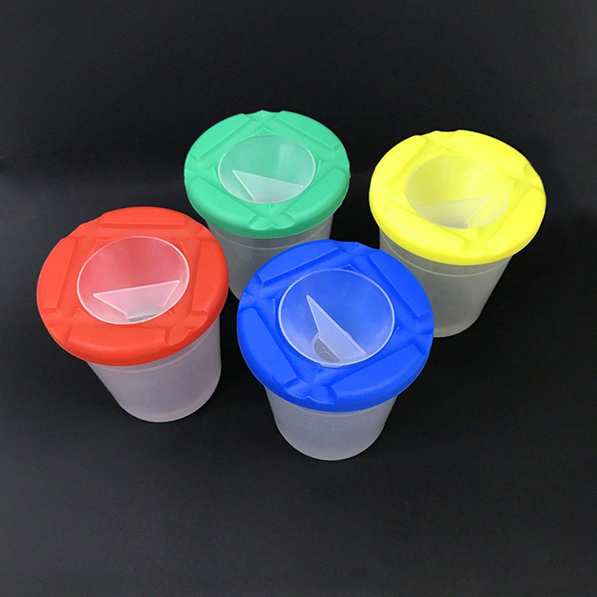 ULTNICE 5Pcs aucune tasses de peinture de renversement avec des couvercles de couleur et 12Pcs pinceaux de peinture