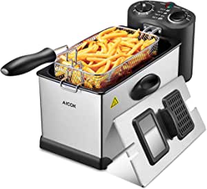 Aicok Deep Fryer, With Basket, 1700-Watt Stainless-Steel Oil Deep Fryer Machine with Adjustable Temperature & Timer, Fully Removable, Professional Grade