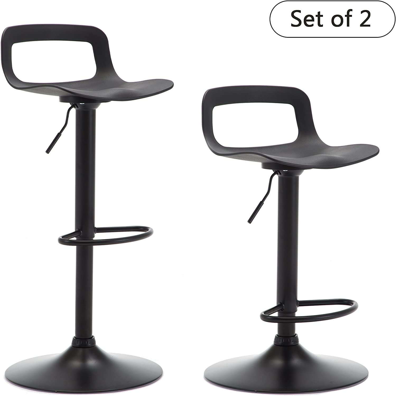 THKSBOUGHT Set of 2 Modern Bar Stools Plastic Adjustable Counter Height Swivel Stool Matte Back