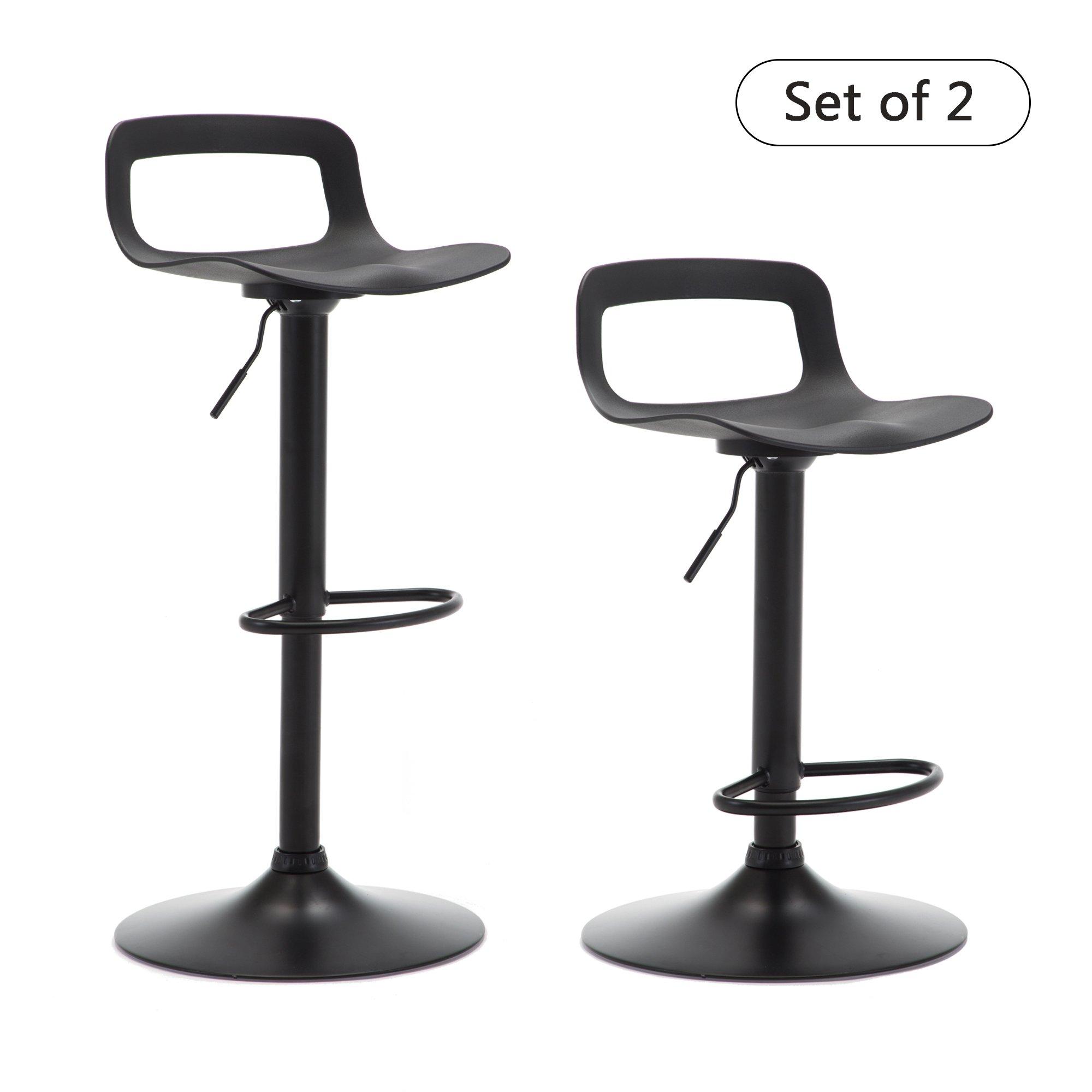 THKSBOUGHT Set of 2 Modern Bar Stools Plastic Adjustable Counter Height Swivel Stool (Matte Back) by THKSBOUGHT