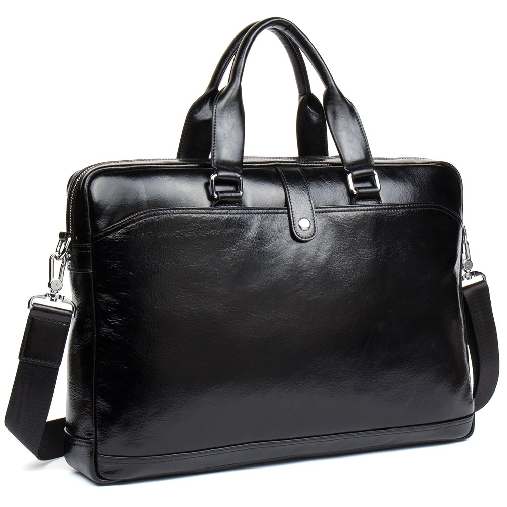 MANTOBRUCE Leather Briefcase for Men Women Travel Work Messenger Bags 16'' Laptop Shoulder Handbag