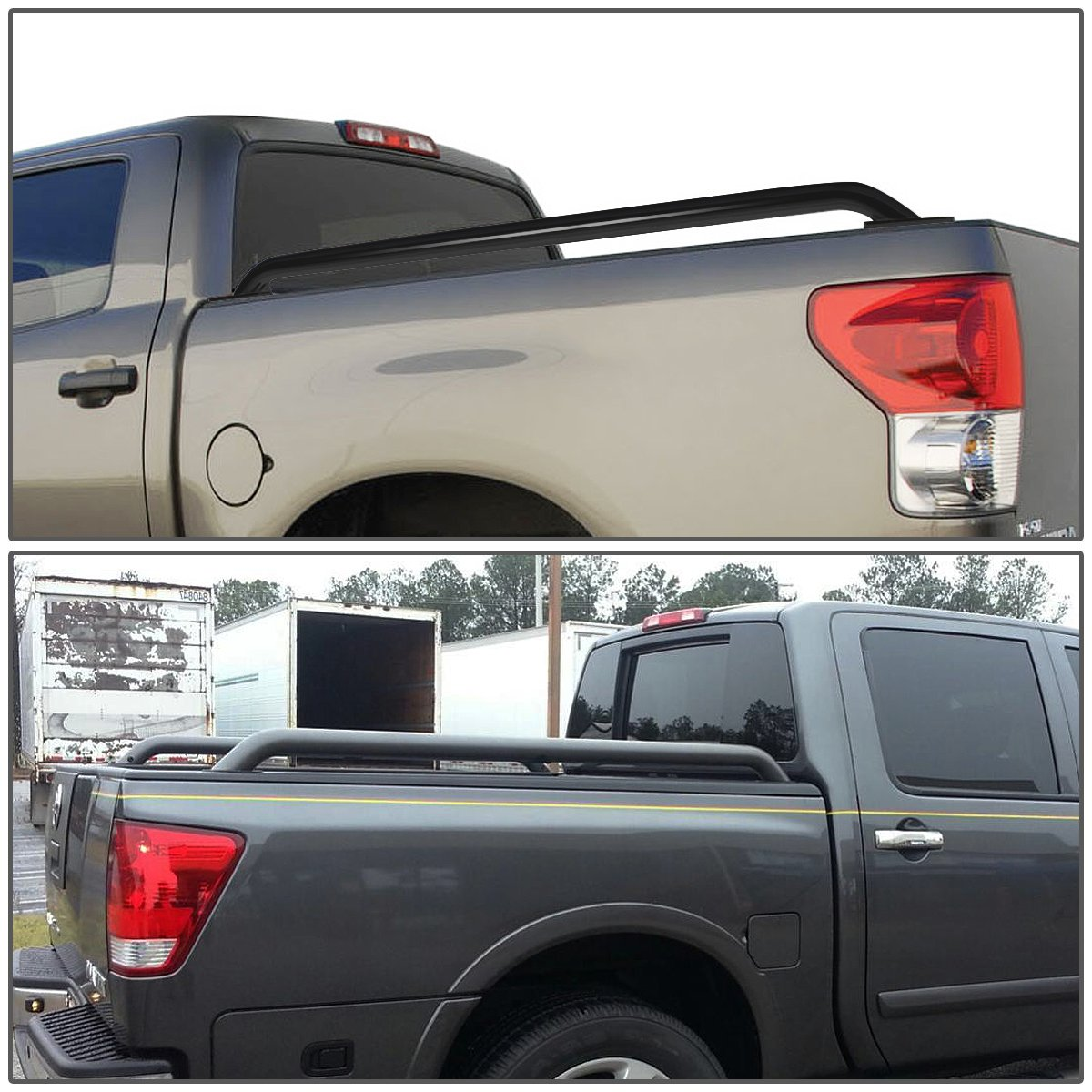 Pair of Mild Steel Black Truck Side Bar Rail For Sierra//Silverado 6.5ft Bed Cab