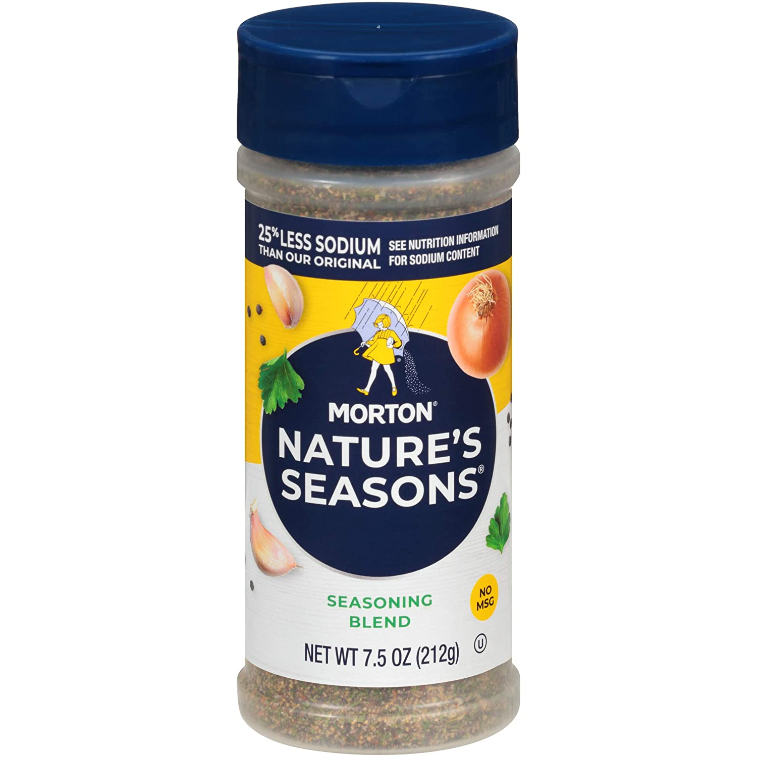 Morton 25% Less Sodium Nature's Seasons Seasoning Blend, 7.5 Ounce (Pack of 6)