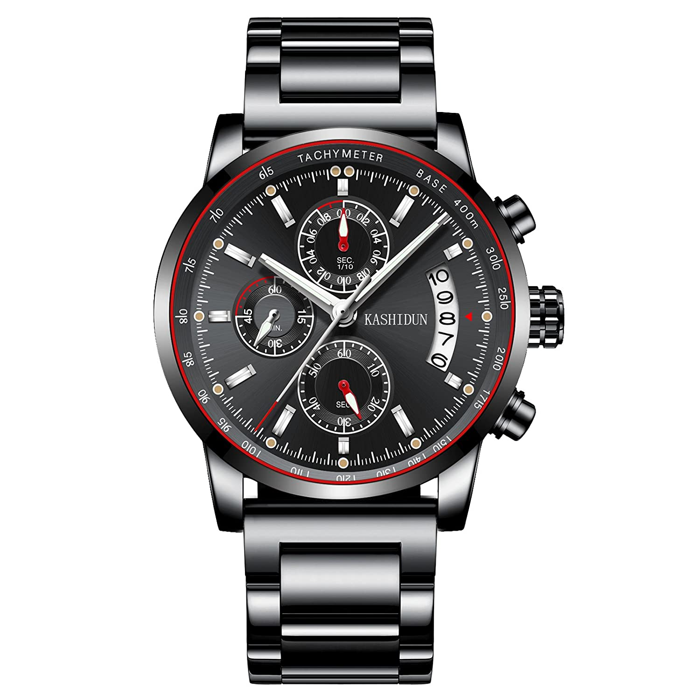 806adc667 Amazon.com: KASHIDUN Men's Watches Luxury Sports Fashion Casual Chronograph  Waterproof Quartz Wristwatches Metal&Leather Strap Black Color (A-Black):  ...