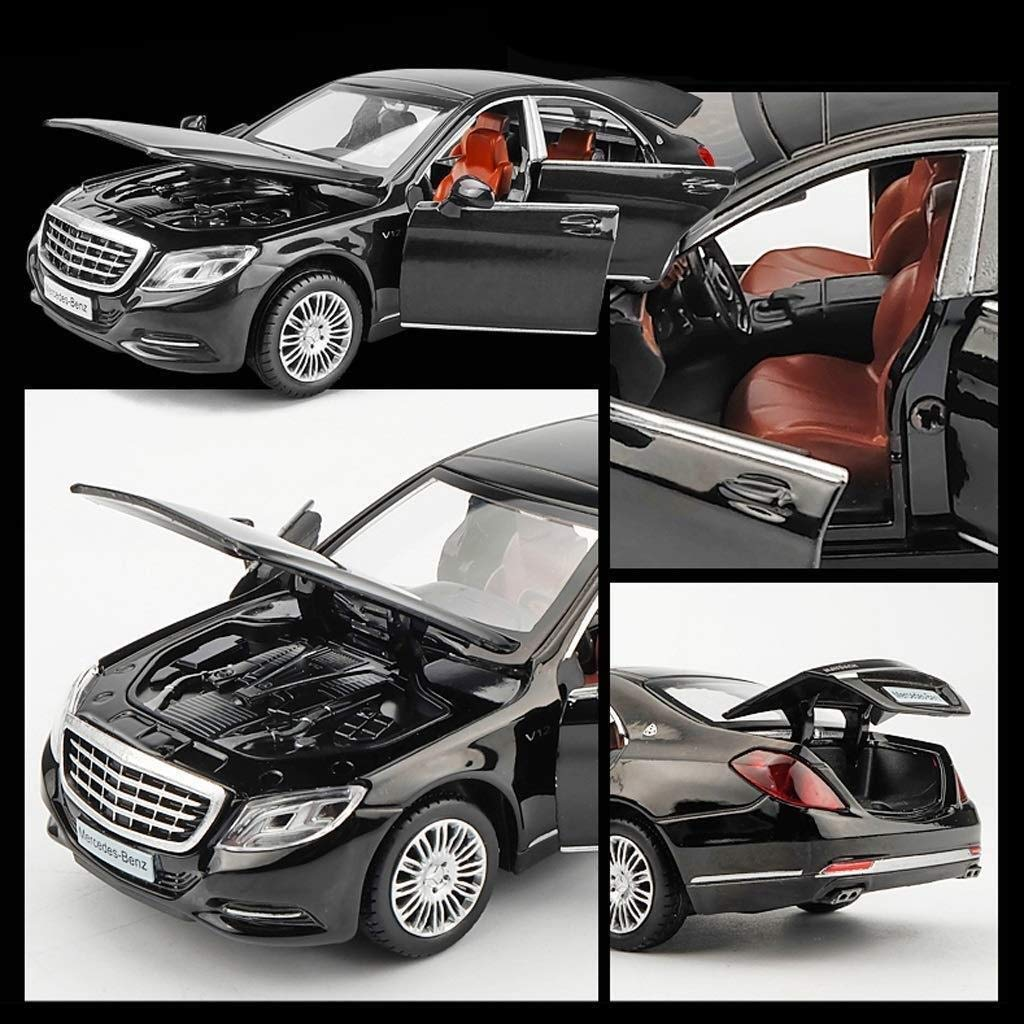 WJSXJJ Auto-Modell 1,32 Mercedes Benz Modell Maybach S600 Simulation Legierung Druckguss-Spielzeug Ornamente Sports Car Collection Schmuck 14.5x5.5x4.5cm (Color : Blue) Black
