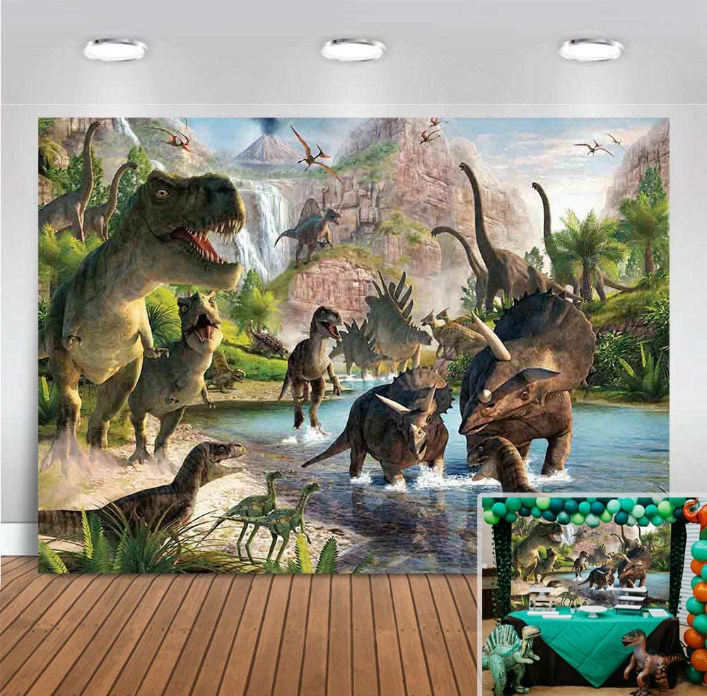 Dinosaur 1st Birthday Party Banner Jurassic Park Jungle Theme Party Decoration for Kids Boys and Girls Dinosaur Party Preferences Studio Shooting Props Dinosaur 1st Birthday