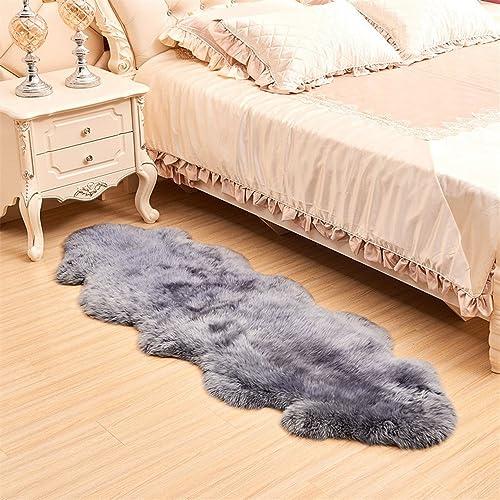 FOLWEP Faux Fur Sheepskin Decorative Rug Couch Chair Cover Seat Pad Plain Shaggy Area Rugs,70×95 Inch 6×8 Feet ,Grey