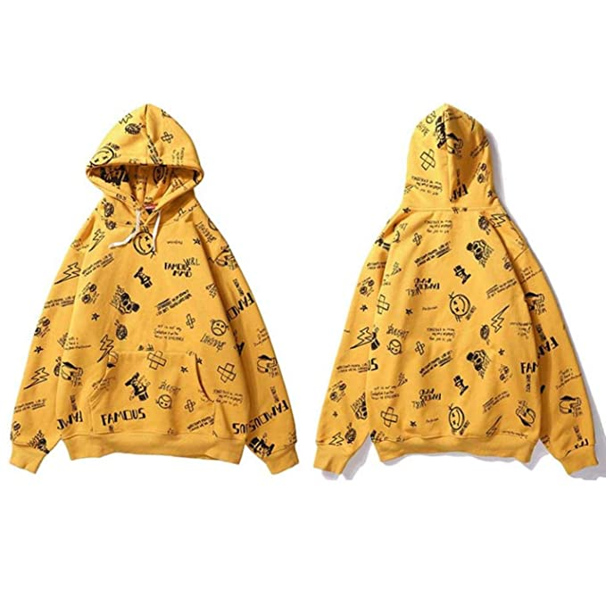 JQZW Mens Harajuku Streetwear Hoodie Sweatshirt Hip Hop Graffiti Full Print Hooded at Amazon Mens Clothing store: