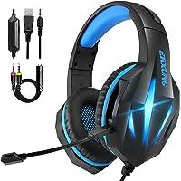 Cascos Gaming PS4 Switch, Auriculares Gaming Xbox One con Micrófono Reducción de Ruido, 50mm Drivers Sonido Envolvente y…