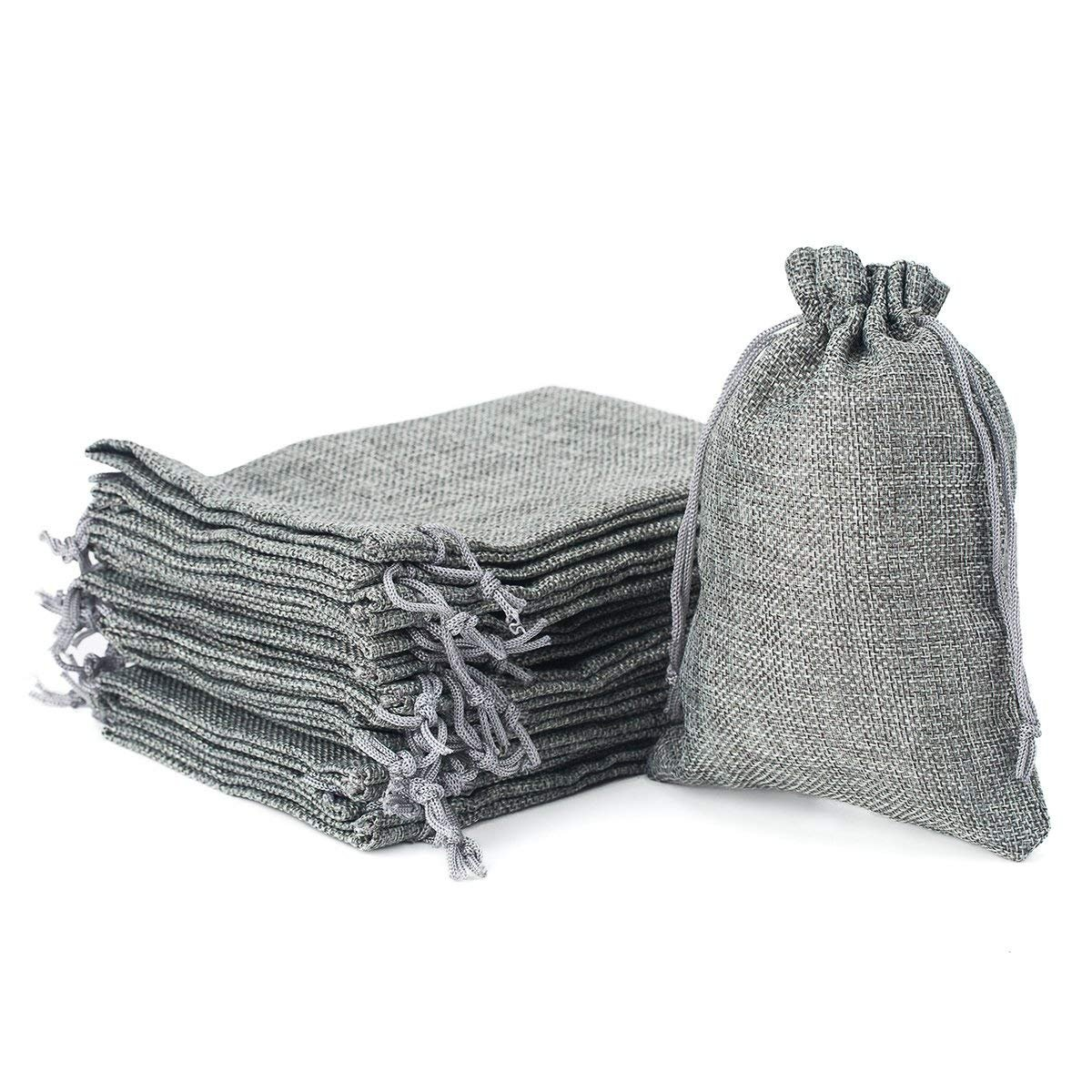 Wuligirl 30PCS Burlap Bags 4X6 with Drawstring and Cotton Lining Jewelry Pouches Sacks Bag for Wedding Favors, Party, DIY Craft(Burlap Grey)