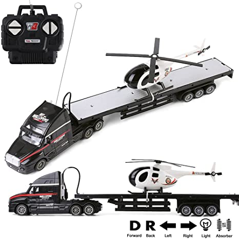 120 scale battery operated big rig semi long hauler trailer with helicopter detachable flatbed - Black Christmas Trailer