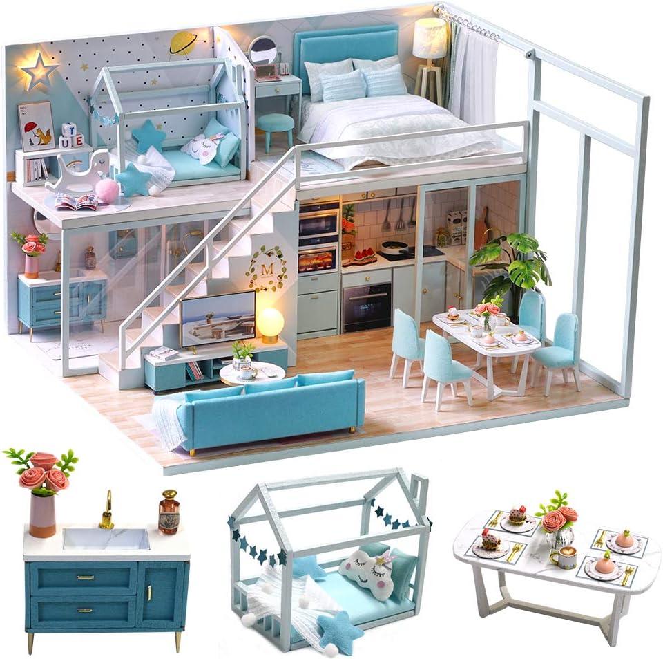 Poetic Life DIY Dollhouse Kit Plus Dust Proof and Music Movement 1:24 Scale Creative Room Idea CUTEBEE Dollhouse Miniature with Furniture