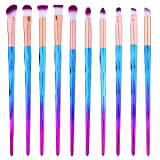 Eye Shadow Brush Set Unicorn 10Pcs Eye Makeup Brushes for Shading or Blending of Eyeshadow Cream Powder Eyebrow Highlighter Concealer Cosmetics Brush Tool (Color: Purple)