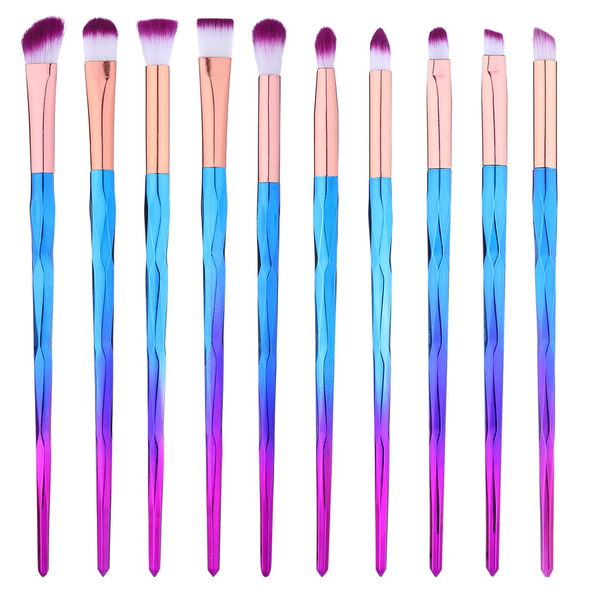 Eye Brush Set Professional 10 Pieces Eye Makeup Brushes for Shading or Blending of Eyeshadow Cream Powder Eyebrow Highlighter Concealer Cosmetics Brush Tool BTYMS