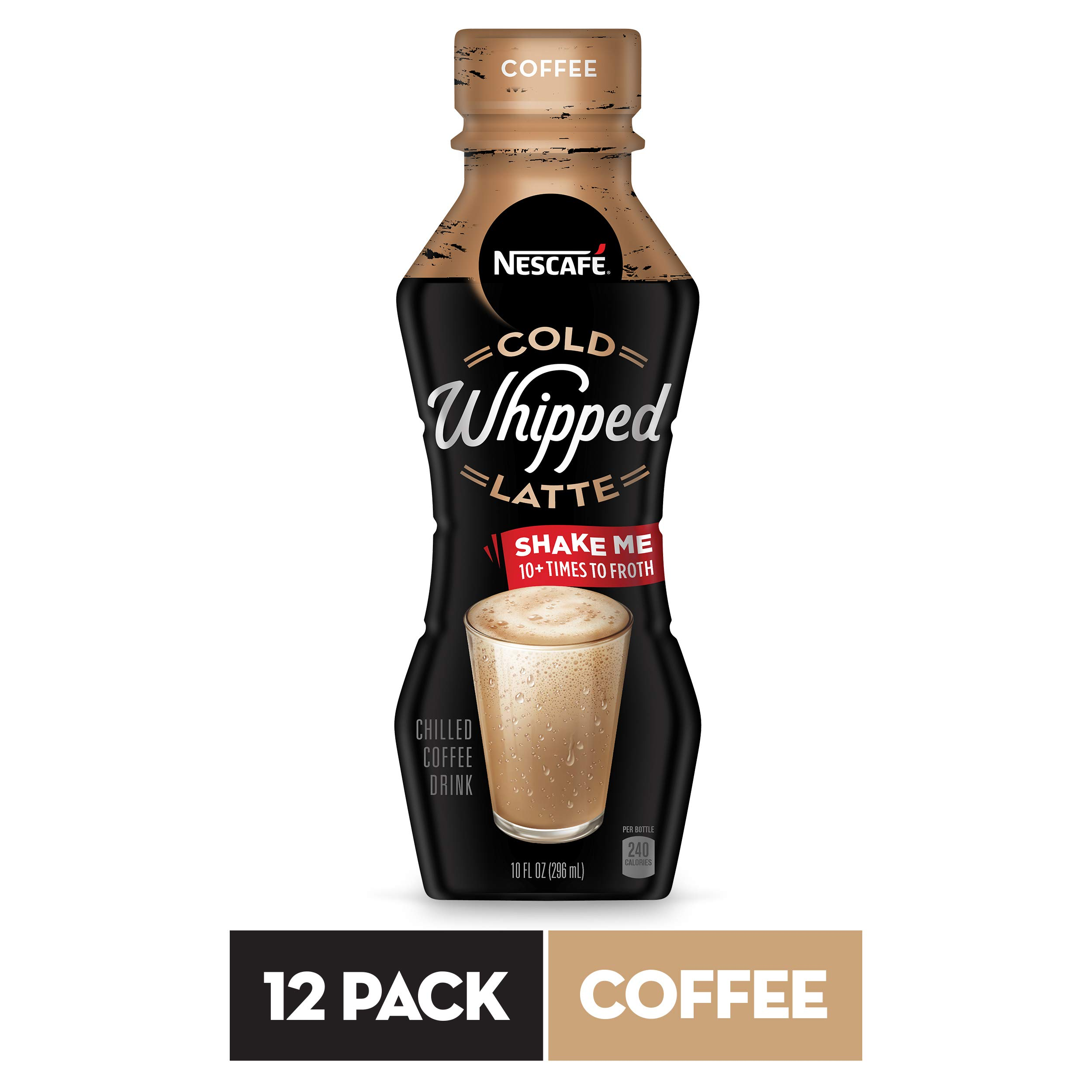 NESCAFÉ Cold Whipped Latte, Ready to Drink Chilled Coffee Drink, Coffee, 10 FL OZ, 12 Bottles | Premium Roasted Coffee Drink with Latte Froth by Nescafe