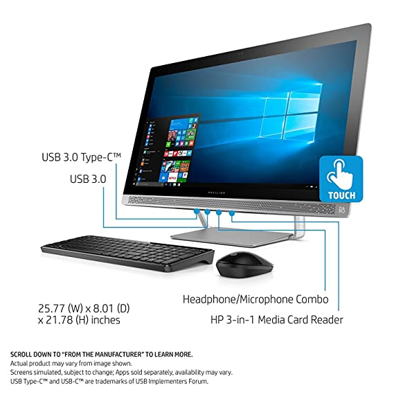 Amazon.com : 2017 HP Pavilion 27 TOUCH Desktop 10TB HD 32GB RAM EXTREME (Intel Core i7-7700K processor 4.20GHz TURBO to 4.50GHz, 32 GB RAM, 10 TB HD, ...
