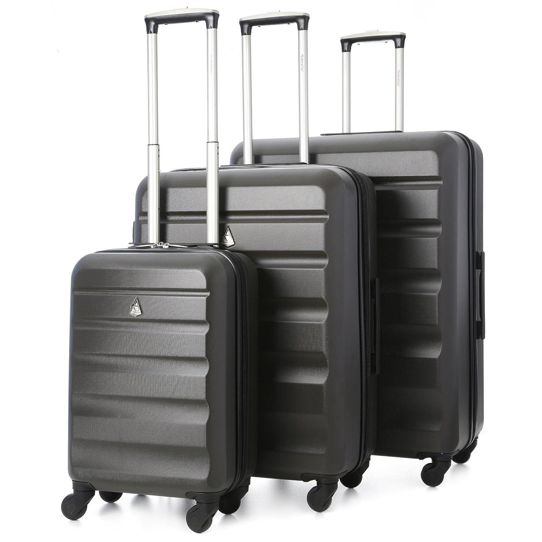 Aerolite ABS Juego de equipaje maleta rígida ligera con ruedas Gris Oscuro
