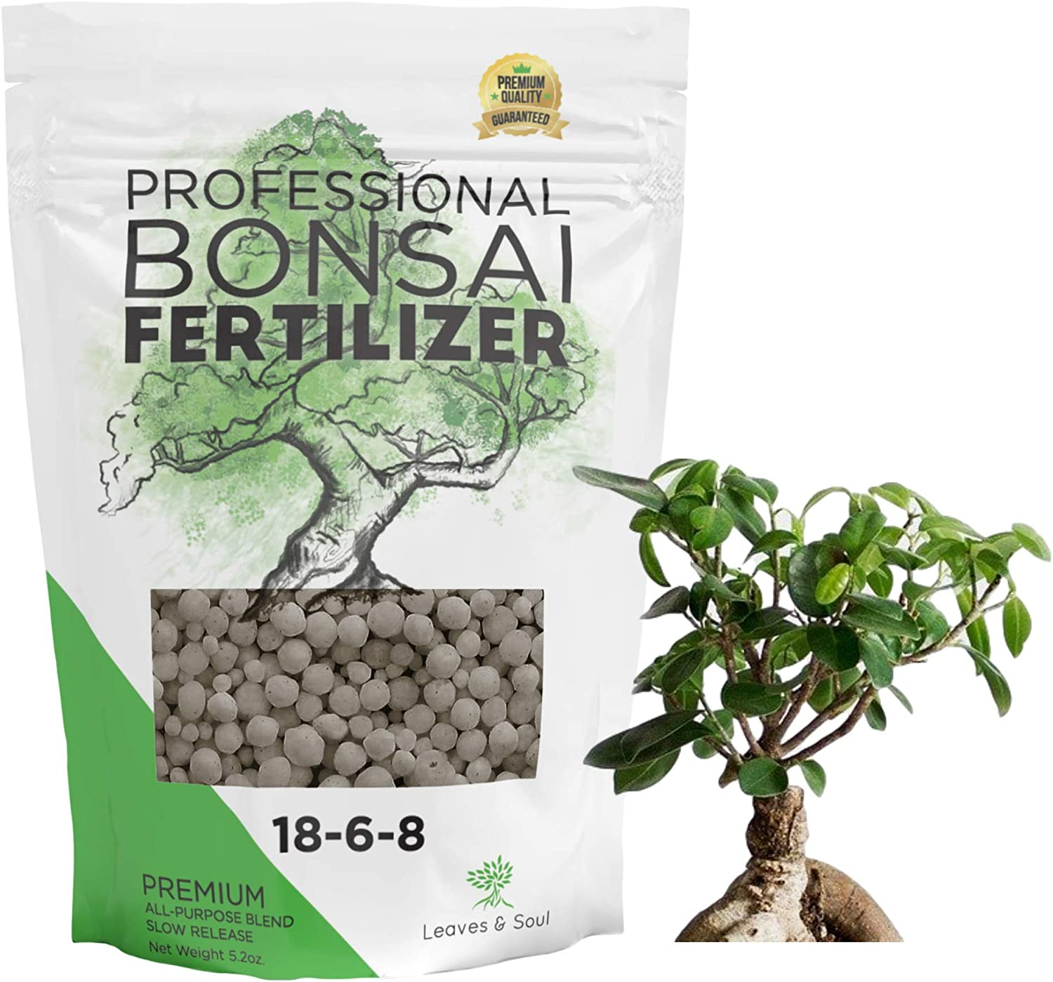 Leaves and Soul Bonsai Fertilizer Pellets |18-6-8 Slow Release Pellets for Seedlings, Mature Plants, All Tree Types | Multi-Purpose Blend & Gardening Supplies, No Fillers | 5.2 oz Resealable Packaging