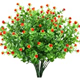 GTidea 4pcs Artificial Greenery Plants Fake Shrubs Plastic Eucalyptus Bushes with Mini Rose Heads House Office Garden Patio Indoor Outdoor Decor Orange