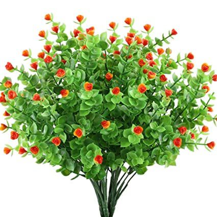 GTidea 4pcs Artificial Greenery Plants Fake Shrubs Plastic Eucalyptus  Bushes With Mini Rose Heads House Office
