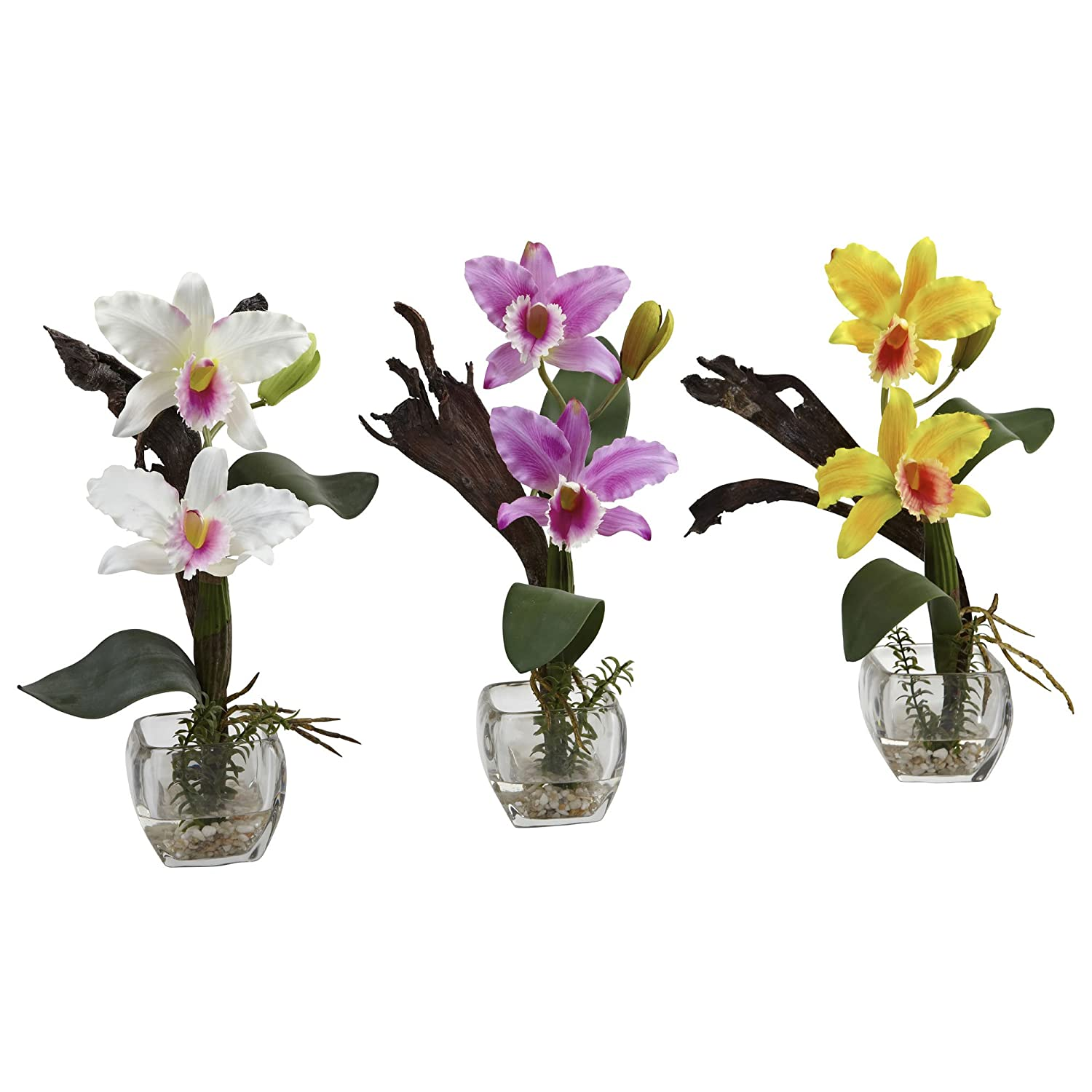 Nearly Natural 1321-S3 Cattleya Orchid Arrangement, Mini, White/Lavender/Yellow, Set of 3