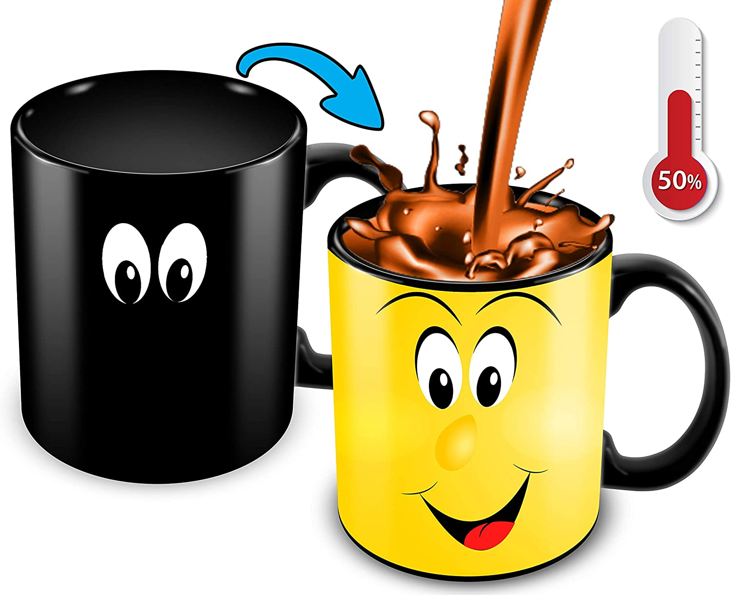 Cortunex Heat Changing Mug | 11 Oz Color Changing Coffee Mug | Funny Coffee Mug With Funny Yellow Cartoon Smiley Face | Great For Him Or Her Novelty Color Changing Mug