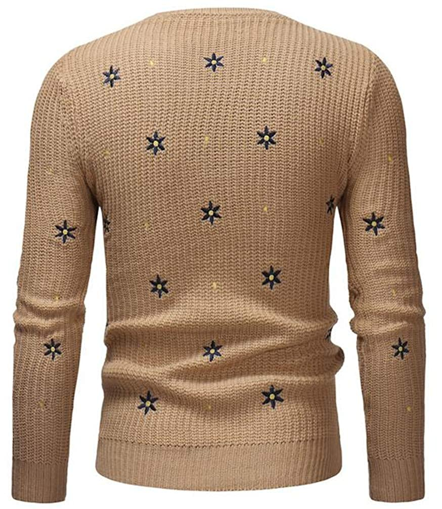 Pivaconis Mens Winter Knitted Crewneck Pullover Embroidery Jumper Sweaters
