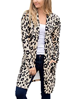 be1865597cf4 ANRABESS Womens Long Sleeve Open Front Leopard Print Knitting Cardigan  Sweater Kimono Coat Outwear with Pockets