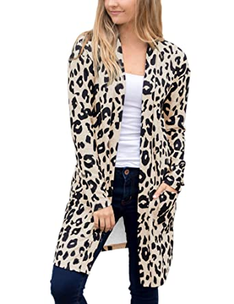 c2229fbe98 ANRABESS Women Long Sleeve Open Front Leopard Knit Long Cardigan Casual  Print Knitted Sweater Coat Outwear