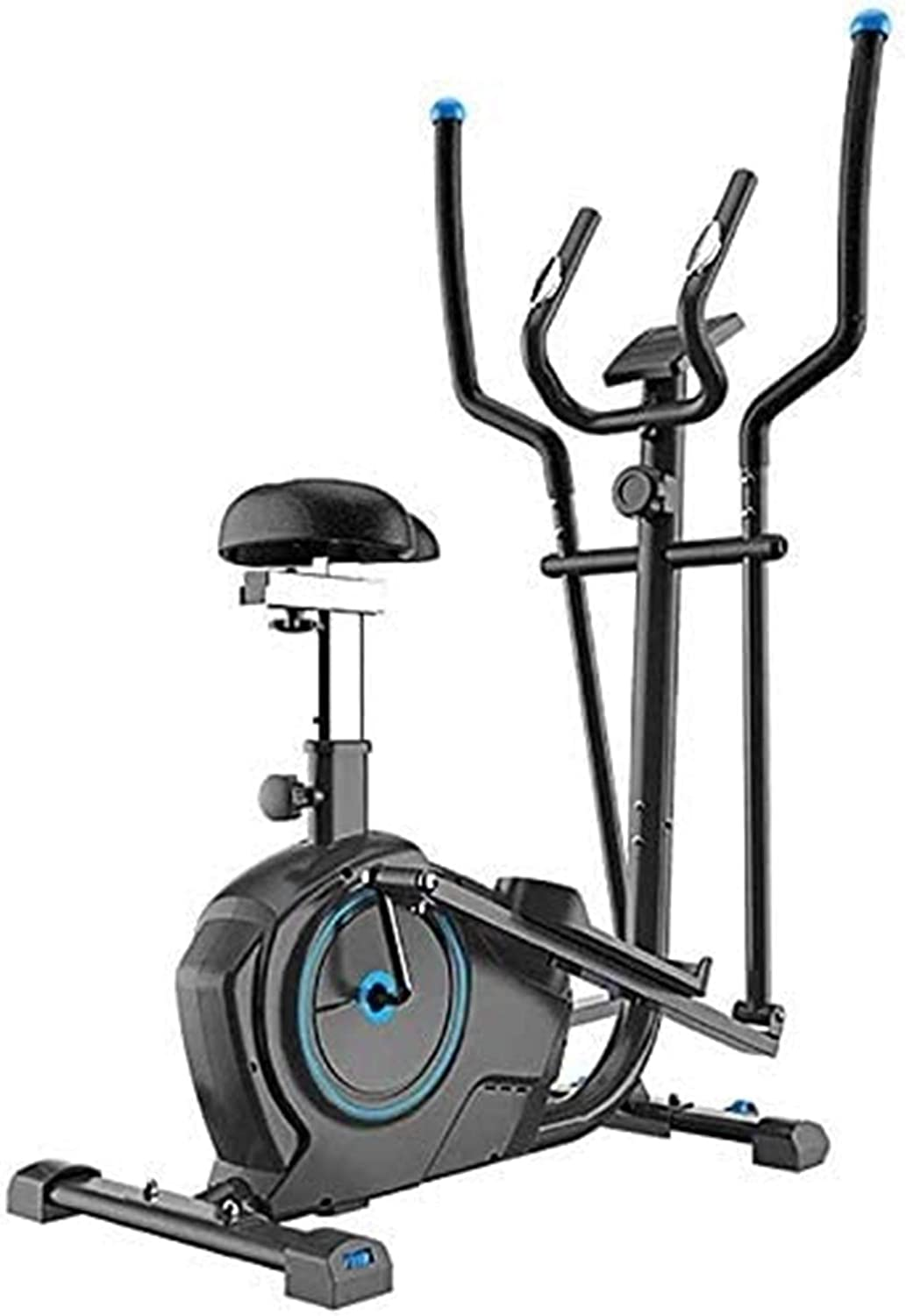Equipment Home Gym 2 in 1 Elliptical Trainer Exercise Bike Cross, Home Office Fitness Aerobics Workout Exercise Machine Multifunction Home Aerobic (Color : Black, Size : Free Size)