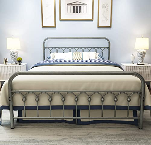 Metal Bed Frame Queen Size with Vintage Headboard and Footboard Platform Base Wrought Iron Bed Frame Gray Silver Queen, Gray Silver