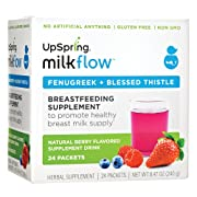 UpSpring Baby Milkflow Fenugreek and Blessed Thistle Powder Berry Drink Mix, 24 Count Lactation Supplement Packets to Promote Healthy Breast Milk Supply