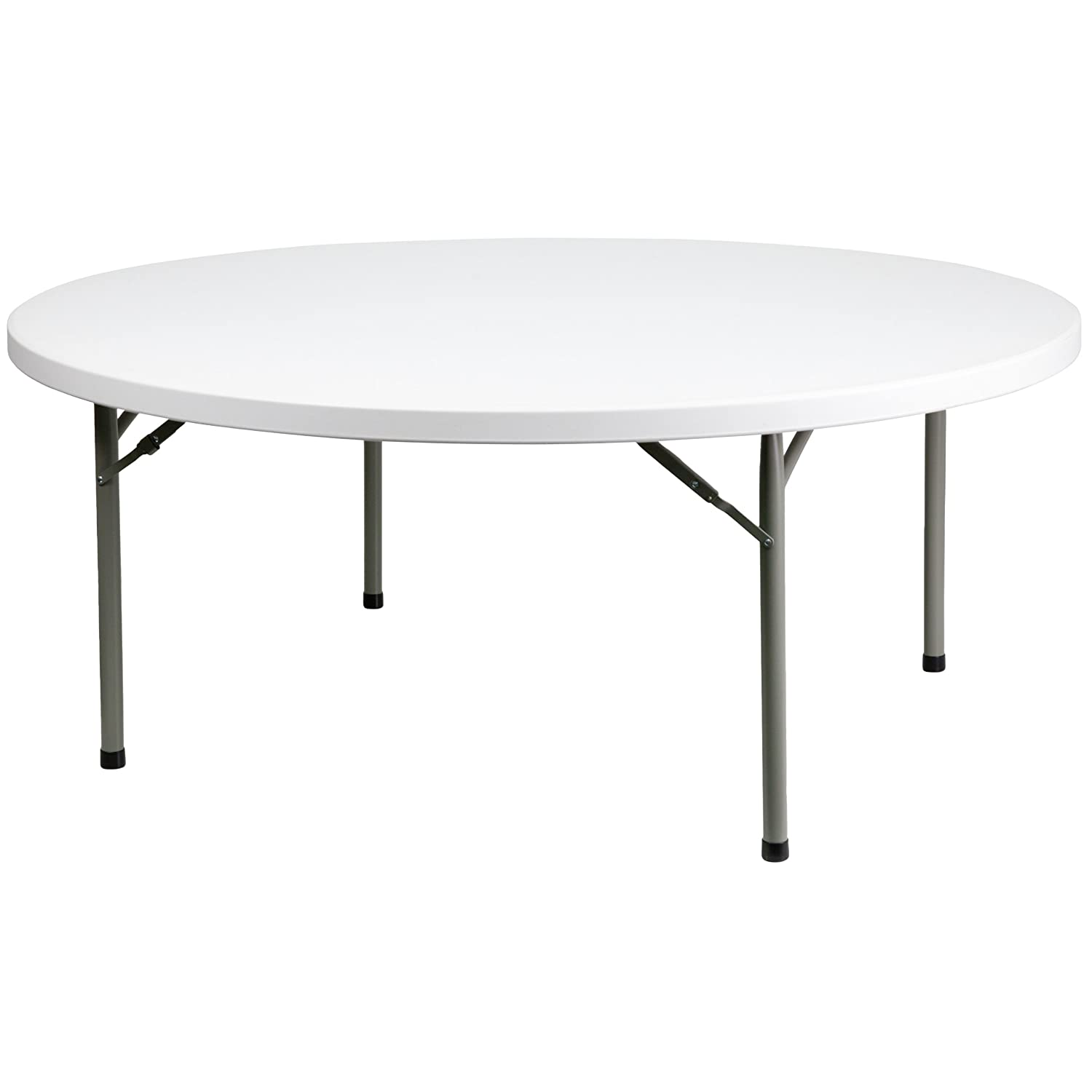 Flash Furniture Granite 32-Inch Round Folding Table, White DAD-YCZ-80R-GW-GG